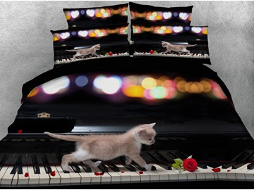Kitten on the Keys Printed Cotton 4-Piece 3D Black Bedding Sets/Duvet Covers