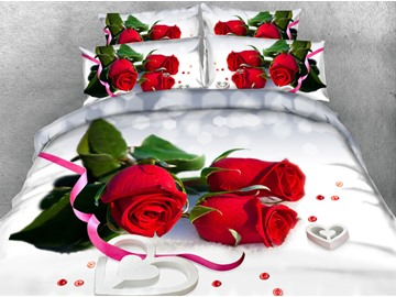 3D Red Roses and Ribbon Printed Cotton 4-Piece White Bedding Sets/Duvet Covers