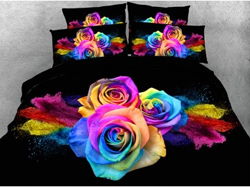 Rainbow Roses 4Pcs 3D Floral Zipper Bedding Sets Lightweight Warm Duvet Covers Endurable Skin-friendly