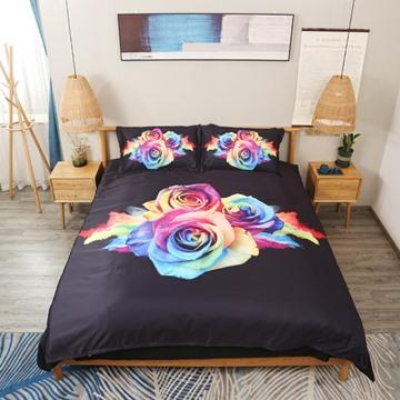 Rainbow Roses 4Pcs 3D Floral Zipper Bedding Sets Lightweight Warm Duvet Covers Endurable Skin-friendly