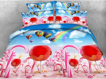 Lollipops and Balloons 3D Digital Printing 4-Piece Bedding Sets