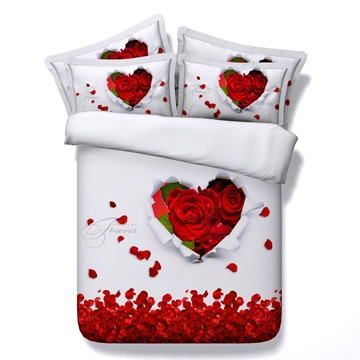 Heart-shaped Red Rose and Petals Printed 3D 4-Piece White Bedding Sets