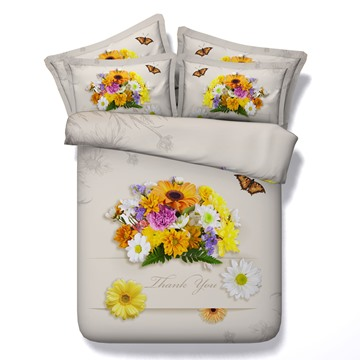 Colorful Daisies and Butterfly Printed 3D 4-Piece Bedding Sets