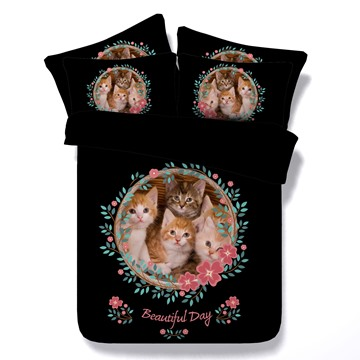 Kittens and Garland Printed 4-Piece Black 3D Bedding Sets/Duvet Covers