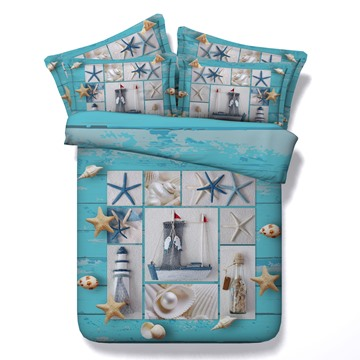 Starfish and Drift Bottle Printed 4-Piece 3D Bedding Sets/Duvet Covers