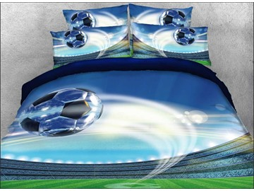 Onlwe 3D Flying Soccer Ball Printed Cotton 4-Piece Bedding Sets/Duvet Covers