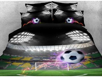 3D Flying Soccer Ball under Stadium Lights Printed Cotton 4-Piece Bedding Sets