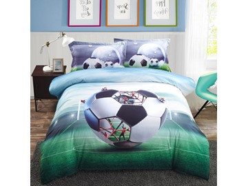 Vivilinen Creative Structure of Soccer Printed Cotton 3D 4-Piece Bedding Sets/Duvet Covers
