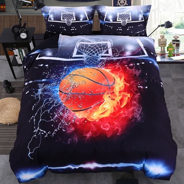 Basketball in Fire and Water 3D 4Pcs Zipper Bedding Set Warm Duvet Cover for Teen Boys