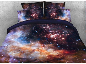3D Galaxy and Galactic Nebula Printed 4-Piece Bedding Set Duvet Cover Set Polyester