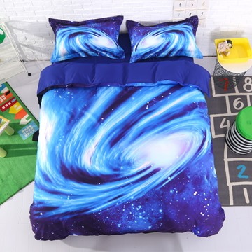 Spiral Galaxy Universe Printed Polyester 3D 4-Piece Blue Bedding Sets/Duvet Covers