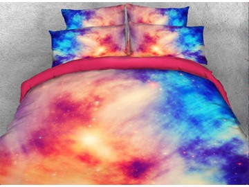 3D Pink Blue Contrast Galaxy Print 4-Piece Bedding Set / Duvet Cover Set Polyester
