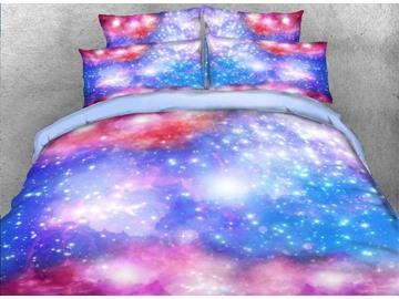 Dreamy Galaxy Printed Polyester 3D 4-Piece Bedding Sets/Duvet Covers