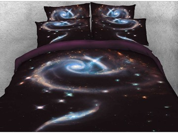 Onlwe 3D Spiral Galaxy Printed Cotton 4-Piece Black Bedding Sets/Duvet Covers
