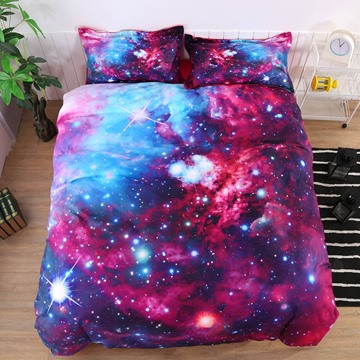 Onlwe 3D Stars and Multicolored Galaxy Printed Cotton 4-Piece Bedding Sets/Duvet Covers