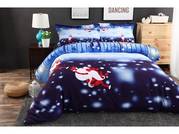 Vivilinen Monkey Santa and Snowflake Printed Cotton 4-Piece 3D Bedding Sets/Duvet Covers