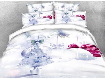 3D Silvery Christmas Tree and Ornaments Printed Cotton 4-Piece Bedding Sets/Duvet Covers