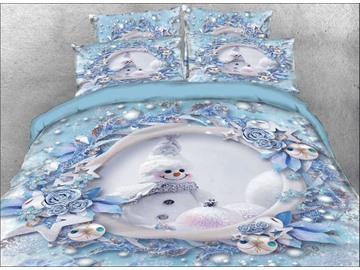 Snowman and Christmas Ornaments Cotton 3D 4PCs Bedding Sets Warm Duvet Covers