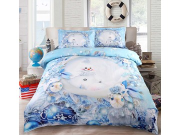 Onlwe 3D Snowman and Christmas Ornaments Printed Cotton 4-Piece Bedding Sets/Duvet Covers