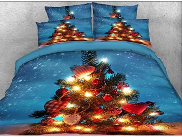 Onlwe 3D Christmas Tree with Decorations Printed Cotton 4-Piece Bedding Sets/Duvet Covers