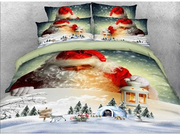 Onlwe 3D Santa Claus and Igloo Printed Cotton 4-Piece Bedding Sets/Duvet Covers