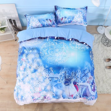 US Only Santa Claus and Christmas Ornaments Printed Happy New Year 3D 4-Piece Bedding Sets Duvet Covers Colorfast Wear-resistant Endurable Skin-friendly All-Season