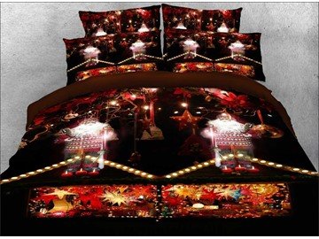3D Santa Claus and Christmas Candle Bedding Set 4Pcs Zipper Warm Duvet Cover Set Colorfast Wear-resistant Endurable Skin-friendly Ultra-soft No-fading Polyester