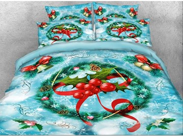 3D Blue Christmas Bedding Wreath with Red Berries Printed 4-Piece Duvet Cover Set Colorfast Wear-resistant Endurable Skin-friendly Ultra-soft  No-fading Polyester