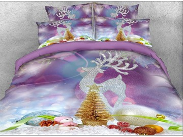 US Only Vivilinen 3D Christmas Ornaments and Reindeer Printed Cotton 4-Piece Bedding Sets/Duvet Covers