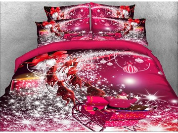 Santa Claus Riding Sleigh Printed 3D 4-Piece Red Bedding Sets/Duvet Covers Polyester