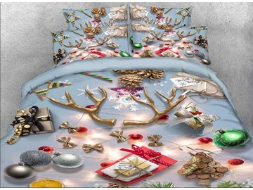 Onlwe 3D Christmas Ornaments Printed Cotton 4-Piece Bedding Sets/Duvet Covers