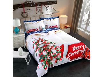 Christmas Tree and Cottage Printed Polyester 3D 4-Piece Bedding Sets Duvet Covers Colorfast Wear-resistant Endurable Skin-friendly All-Season Ultra-soft Microfiber No-fading