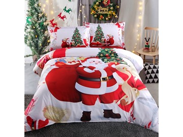 Onlwe 3D Santa and Christmas Tree Printed Cotton 4-Piece White Bedding Sets