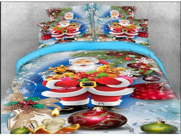 3D Christmas Bedding Santa Claus and Gifts Print 4-Piece Bedding Set Duvet Cover Set Polyester