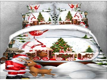 3D Santa Claus Christmas Reindeer 4Pcs Bedding Sets Duvet Cover with Zipper Closure Colorfast Wear-resistant Endurable Skin-friendly All-Season