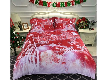 Onlwe Christmas Reindeer and Snowflake Printed Cotton 3D 4-Piece Red Bedding Sets/Duvet Covers