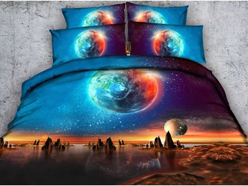 Galaxy and the Earth Printed Polyester 4-Piece 3D Bedding Sets/Duvet Covers
