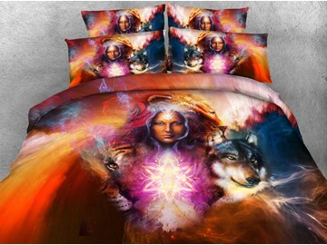 3D Witch and Wolf Printed Cotton 4-Piece Bedding Sets/Duvet Covers