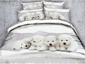 3D White Puppies Printed Cotton 4-Piece Bedding Sets/Duvet Covers