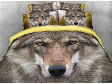 Vivilinen 3D Grey Wolf Face Printed Cotton 4-Piece Bedding Sets/Duvet Covers