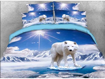 Vivilinen 3D White Wolf Printed Cotton 4-Piece Bedding Sets/Duvet Covers