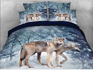 Vivilinen 3D Wolf in Winter Forest Printed Cotton 4-Piece Bedding Sets/Duvet Covers