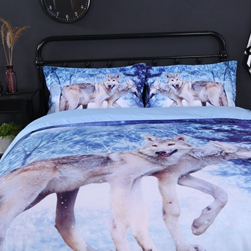 Onlwe 3D Wolf in Winter Forest Printed Cotton 4-Piece Bedding Sets/Duvet Covers