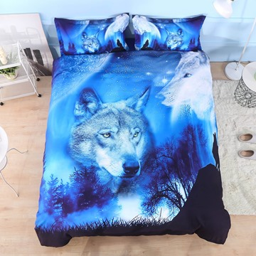 Wild Wolf and Natural Scenery Printed 4-Piece 3D Animal Bedding Sets/Duvet Covers