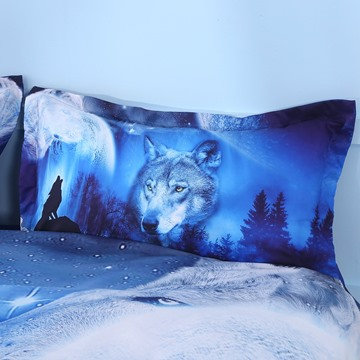 Onlwe 3D Wild Wolf and Natural Scenery Printed 4-Piece Bedding Sets/Duvet Covers