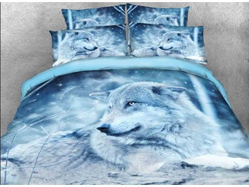 Onlwe 3D Wolf in the Wild Printed Cotton 4-Piece Bedding Sets/Duvet Covers