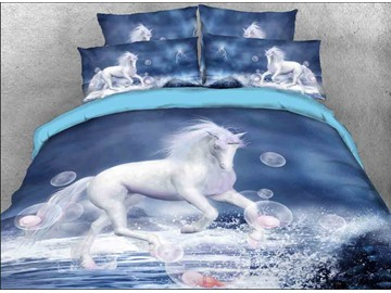 Onlwe 3D White Unicorn and Bubbles Printed Cotton 4-Piece Bedding Sets/Duvet Covers