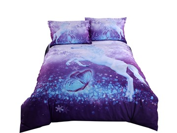Purple Unicorn Printed Cotton All Season 3D 4-Piece Bedding Sets/Duvet Covers