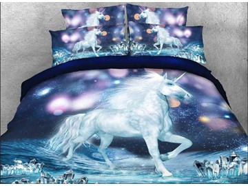 Onlwe 3D White Unicorn and Sparkling Lights Printed 4-Piece Bedding Sets/Duvet Covers