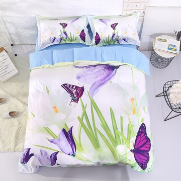 Vivilinen Saffron Crocus and Butterfly Printed Cotton 4-Piece 3D Bedding Sets/Duvet Covers